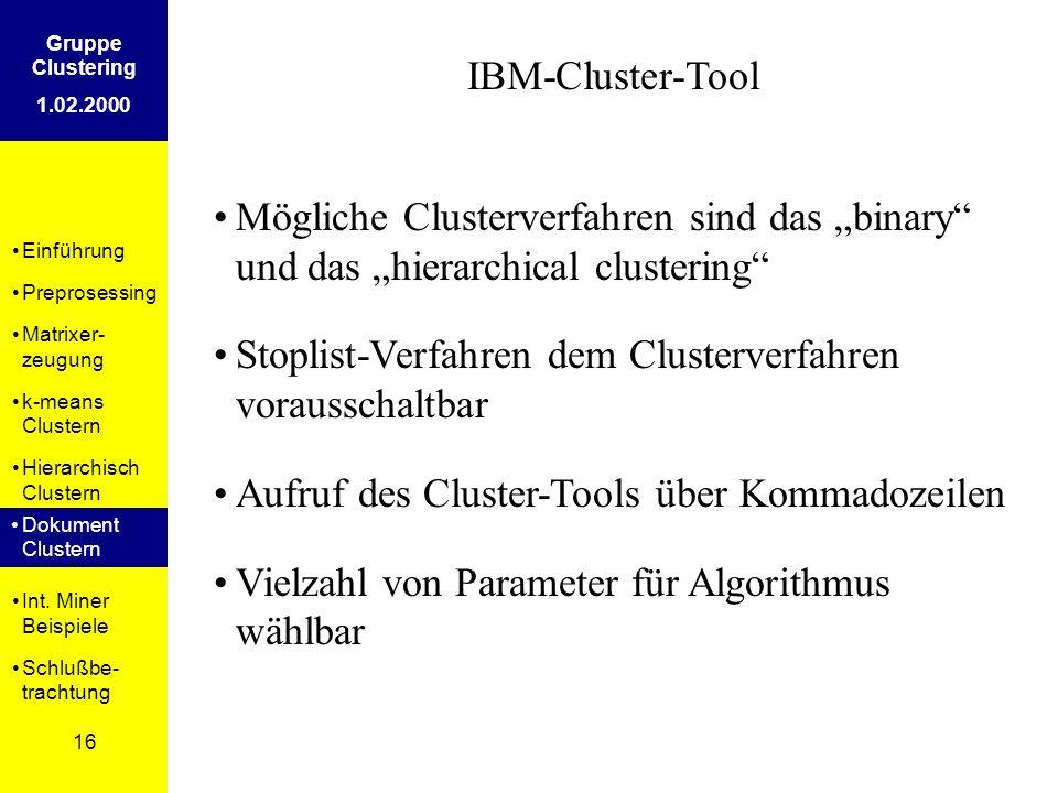 Einführung Preprosessing Matrixer- zeugung k-means Clustern Hierarchisch Clustern Dokument Clustern Int. Miner Beispiele Schlußbe- trachtung 16 Gruppe