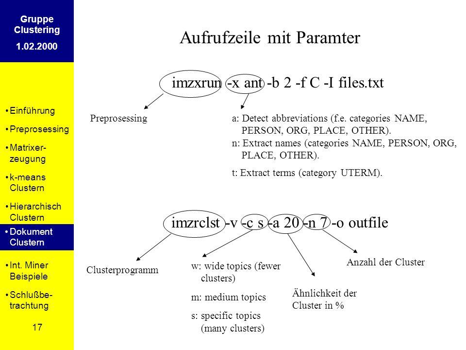 Einführung Preprosessing Matrixer- zeugung k-means Clustern Hierarchisch Clustern Dokument Clustern Int. Miner Beispiele Schlußbe- trachtung 17 Gruppe