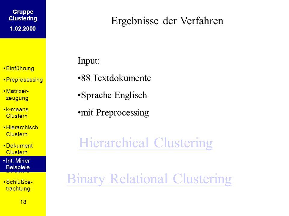 Einführung Preprosessing Matrixer- zeugung k-means Clustern Hierarchisch Clustern Dokument Clustern Int. Miner Beispiele Schlußbe- trachtung 18 Gruppe