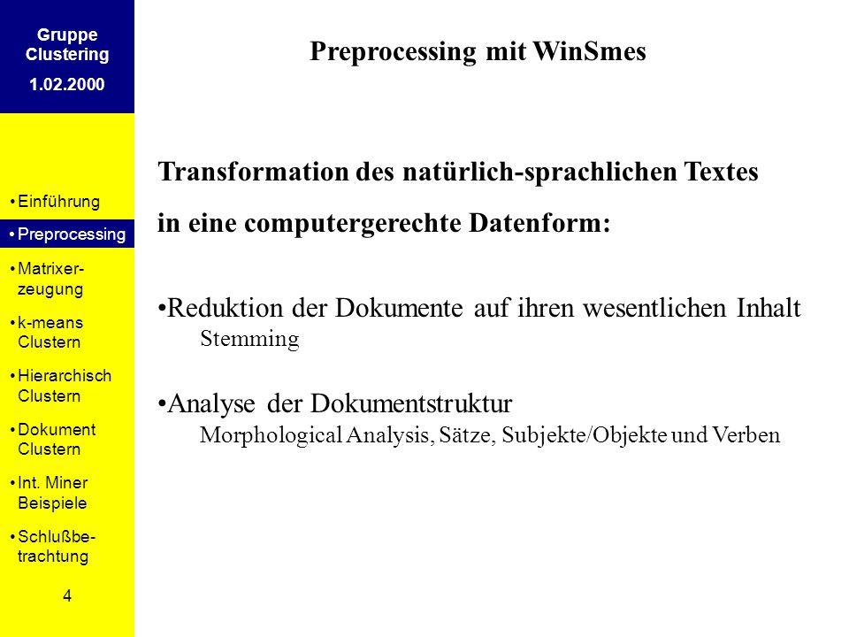 Einführung Preprosessing Matrixer- zeugung k-means Clustern Hierarchisch Clustern Dokument Clustern Int. Miner Beispiele Schlußbe- trachtung 4 Gruppe
