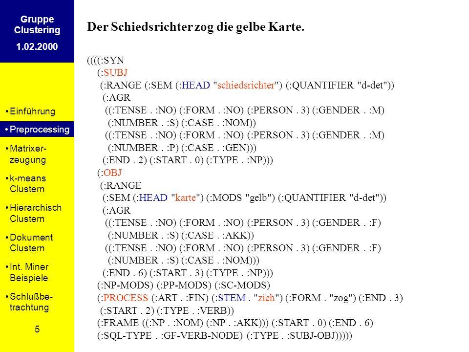 Einführung Preprosessing Matrixer- zeugung k-means Clustern Hierarchisch Clustern Dokument Clustern Int. Miner Beispiele Schlußbe- trachtung 5 Gruppe
