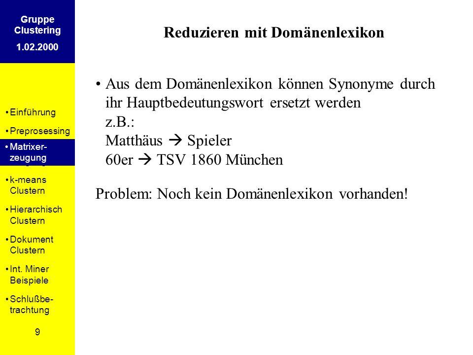 Einführung Preprosessing Matrixer- zeugung k-means Clustern Hierarchisch Clustern Dokument Clustern Int.