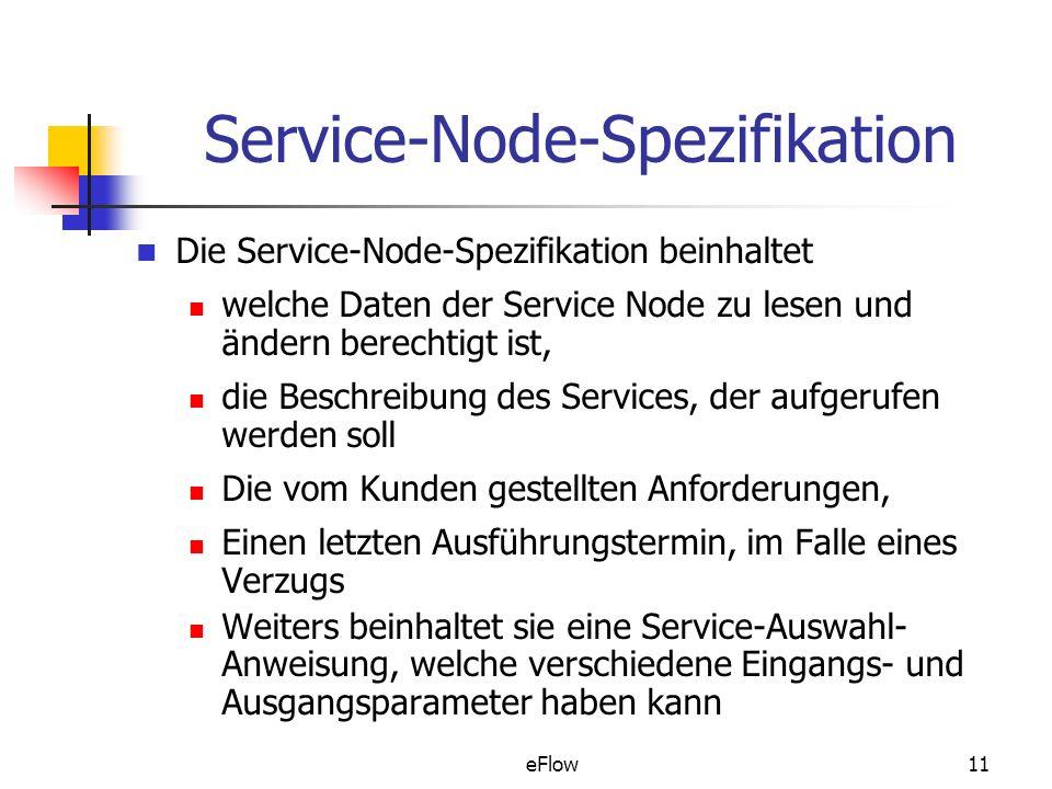 eFlow11 Service-Node-Spezifikation Die Service-Node-Spezifikation beinhaltet welche Daten der Service Node zu lesen und ändern berechtigt ist, die Beschreibung des Services, der aufgerufen werden soll Die vom Kunden gestellten Anforderungen, Einen letzten Ausführungstermin, im Falle eines Verzugs Weiters beinhaltet sie eine Service-Auswahl- Anweisung, welche verschiedene Eingangs- und Ausgangsparameter haben kann