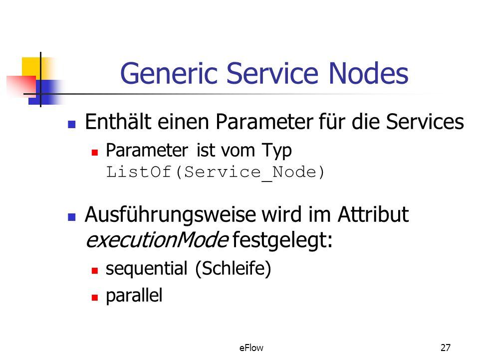 eFlow27 Generic Service Nodes Enthält einen Parameter für die Services Parameter ist vom Typ ListOf(Service_Node) Ausführungsweise wird im Attribut executionMode festgelegt: sequential (Schleife) parallel