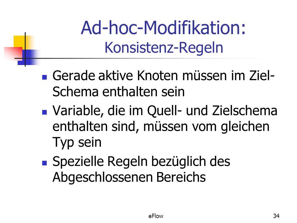 eFlow34 Ad-hoc-Modifikation: Konsistenz-Regeln Gerade aktive Knoten müssen im Ziel- Schema enthalten sein Variable, die im Quell- und Zielschema enthalten sind, müssen vom gleichen Typ sein Spezielle Regeln bezüglich des Abgeschlossenen Bereichs