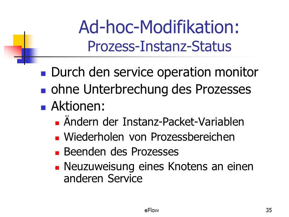 eFlow35 Ad-hoc-Modifikation: Prozess-Instanz-Status Durch den service operation monitor ohne Unterbrechung des Prozesses Aktionen: Ändern der Instanz-Packet-Variablen Wiederholen von Prozessbereichen Beenden des Prozesses Neuzuweisung eines Knotens an einen anderen Service