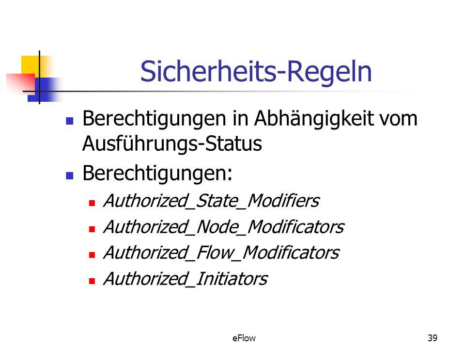 eFlow39 Sicherheits-Regeln Berechtigungen in Abhängigkeit vom Ausführungs-Status Berechtigungen: Authorized_State_Modifiers Authorized_Node_Modificators Authorized_Flow_Modificators Authorized_Initiators