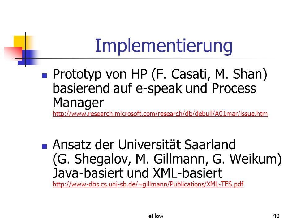 eFlow40 Implementierung Prototyp von HP (F.Casati, M.