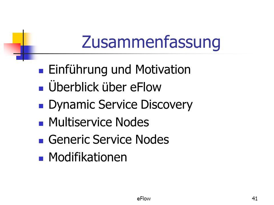 eFlow41 Zusammenfassung Einführung und Motivation Überblick über eFlow Dynamic Service Discovery Multiservice Nodes Generic Service Nodes Modifikationen
