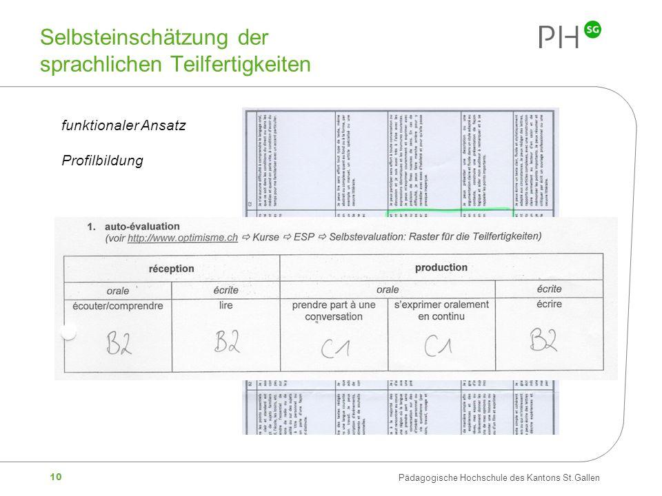 10 Pädagogische Hochschule des Kantons St.Gallen Selbsteinschätzung der sprachlichen Teilfertigkeiten funktionaler Ansatz Profilbildung