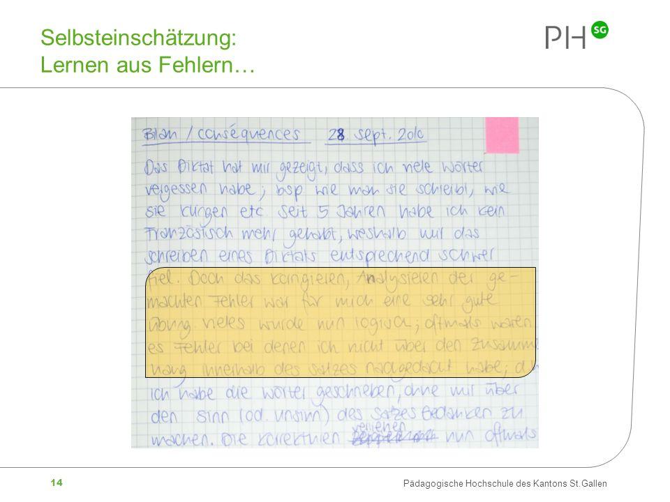 14 Pädagogische Hochschule des Kantons St.Gallen Selbsteinschätzung: Lernen aus Fehlern…