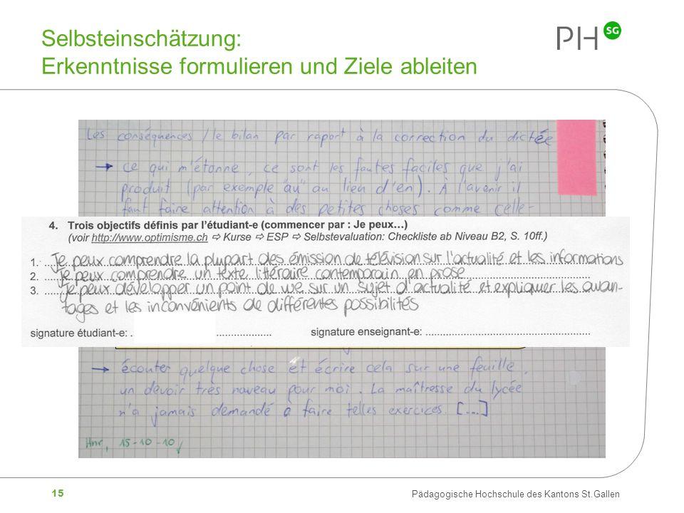 15 Pädagogische Hochschule des Kantons St.Gallen Selbsteinschätzung: Erkenntnisse formulieren und Ziele ableiten