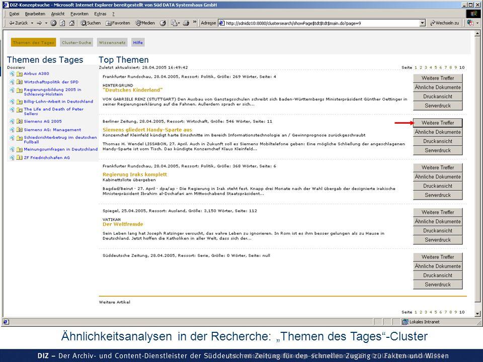 Automatische Klassifizierung – Präsentation für GBI © DIZ München März 2004 Ähnlichkeitsanalysen in der Recherche: Themen des Tages-Cluster