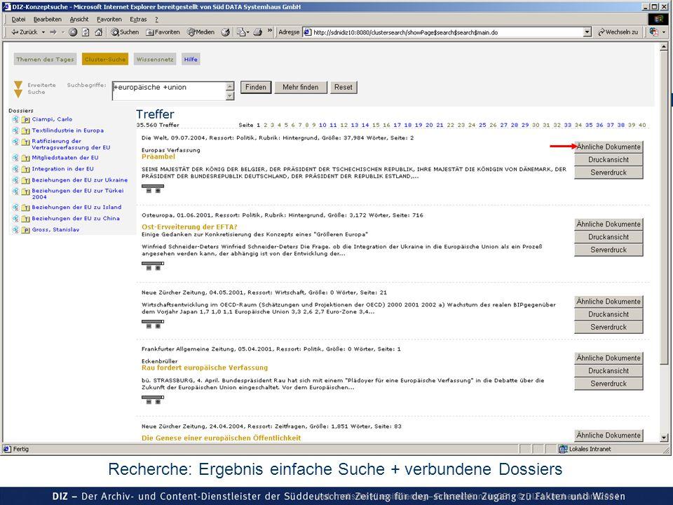 Automatische Klassifizierung – Präsentation für GBI © DIZ München März 2004 Recherche: Ergebnis einfache Suche + verbundene Dossiers