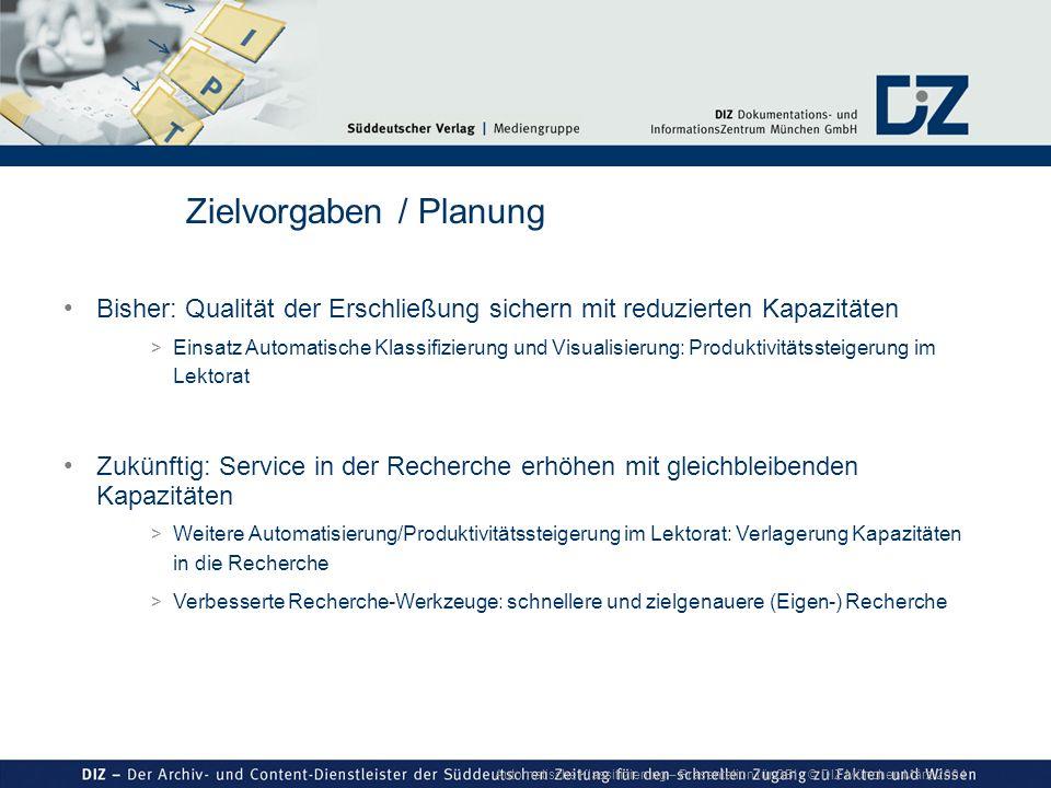 Automatische Klassifizierung – Präsentation für GBI © DIZ München März 2004 Bisher: Qualität der Erschließung sichern mit reduzierten Kapazitäten > Ei
