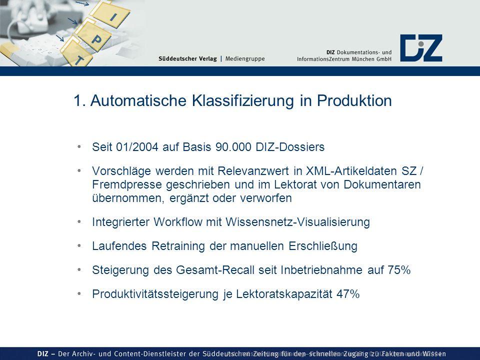 Automatische Klassifizierung – Präsentation für GBI © DIZ München März 2004 1. Automatische Klassifizierung in Produktion Seit 01/2004 auf Basis 90.00