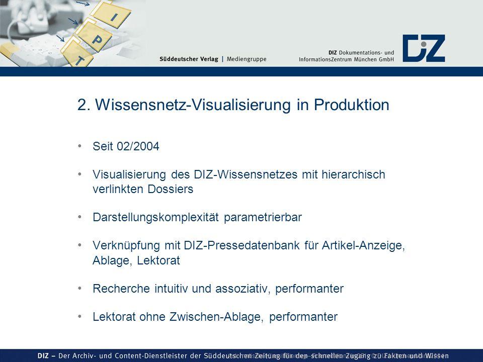 Automatische Klassifizierung – Präsentation für GBI © DIZ München März 2004 2. Wissensnetz-Visualisierung in Produktion Seit 02/2004 Visualisierung de