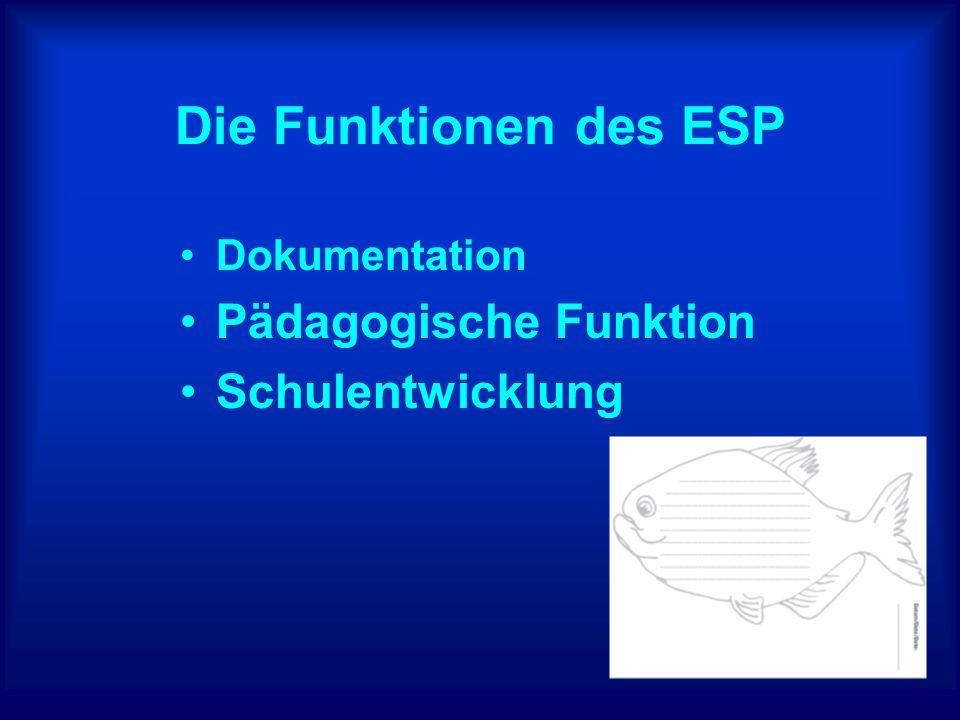 Die Funktionen des ESP Dokumentation Pädagogische Funktion Schulentwicklung