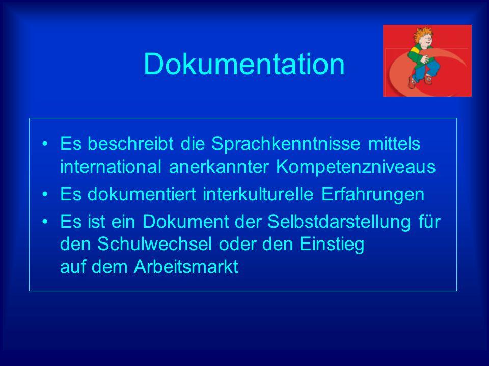 Dokumentation Es beschreibt die Sprachkenntnisse mittels international anerkannter Kompetenzniveaus Es dokumentiert interkulturelle Erfahrungen Es ist