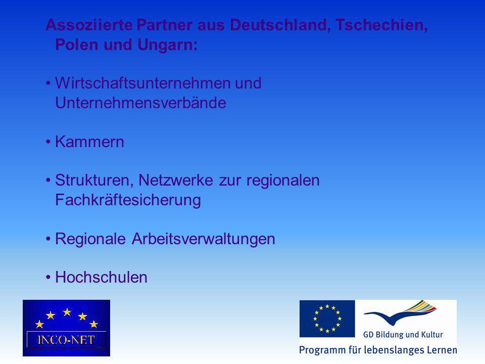 Assoziierte Partner aus Deutschland, Tschechien, Polen und Ungarn: Wirtschaftsunternehmen und Unternehmensverbände Kammern Strukturen, Netzwerke zur regionalen Fachkräftesicherung Regionale Arbeitsverwaltungen Hochschulen