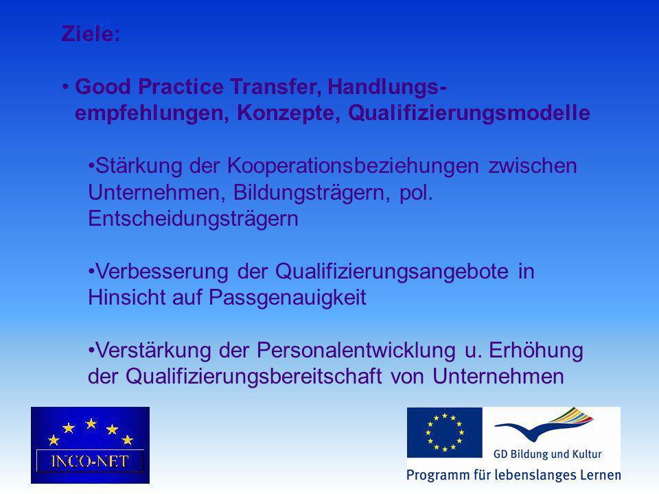 Ziele: Good Practice Transfer, Handlungs- empfehlungen, Konzepte, Qualifizierungsmodelle Stärkung der Kooperationsbeziehungen zwischen Unternehmen, Bildungsträgern, pol.