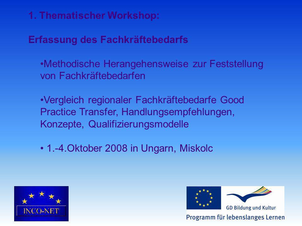1. Thematischer Workshop: Erfassung des Fachkräftebedarfs Methodische Herangehensweise zur Feststellung von Fachkräftebedarfen Vergleich regionaler Fa