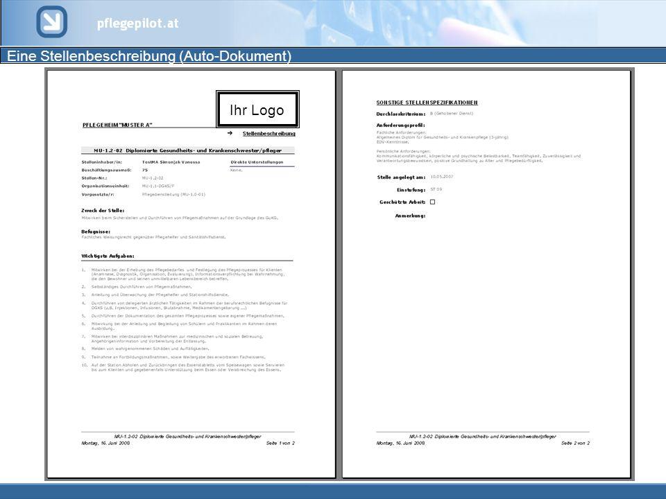 Eine Stellenbeschreibung (Auto-Dokument) Ihr Logo