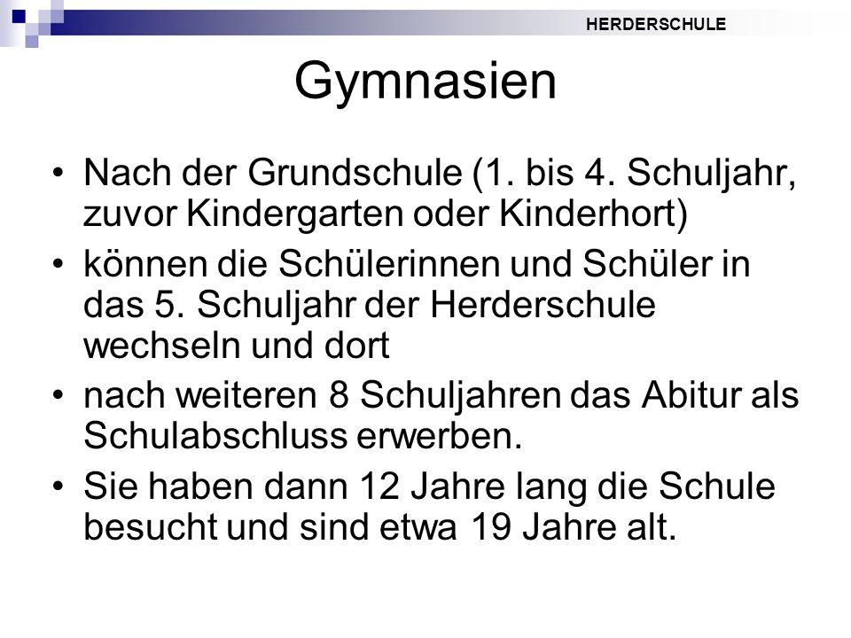 HERDERSCHULE Gymnasien Nach der Grundschule (1. bis 4. Schuljahr, zuvor Kindergarten oder Kinderhort) können die Schülerinnen und Schüler in das 5. Sc