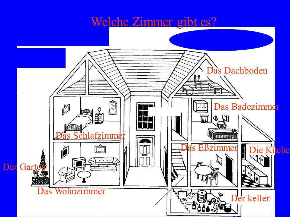 Das Dachboden Das Schlafzimmer Das Badezimmer Das Wohnzimmer Das Eßzimmer Die Küche Der keller Der Garten Welche Zimmer gibt es?