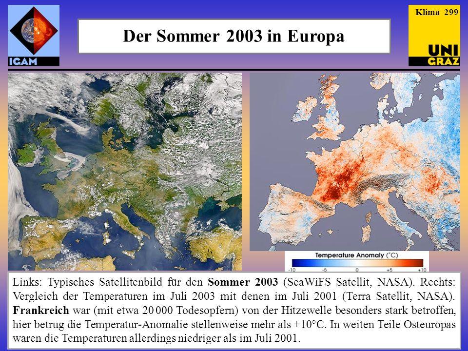 Der Sommer 2003 in Europa Links: Typisches Satellitenbild für den Sommer 2003 (SeaWiFS Satellit, NASA). Rechts: Vergleich der Temperaturen im Juli 200