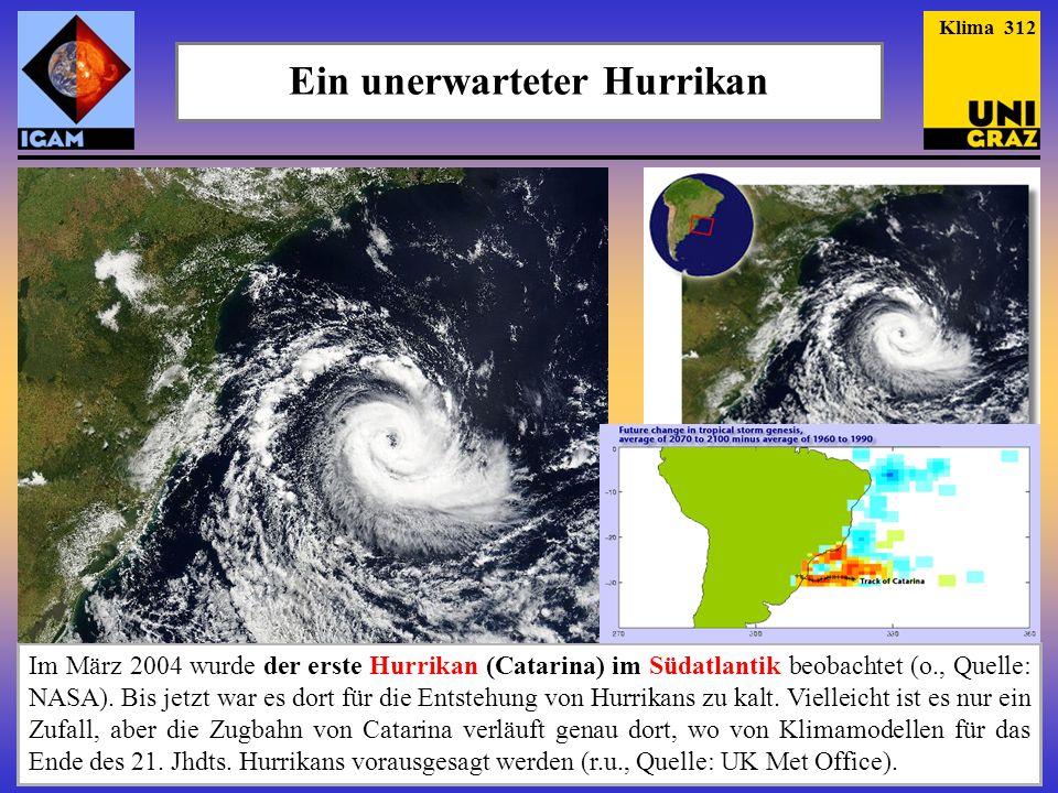 Ein unerwarteter Hurrikan Im März 2004 wurde der erste Hurrikan (Catarina) im Südatlantik beobachtet (o., Quelle: NASA). Bis jetzt war es dort für die