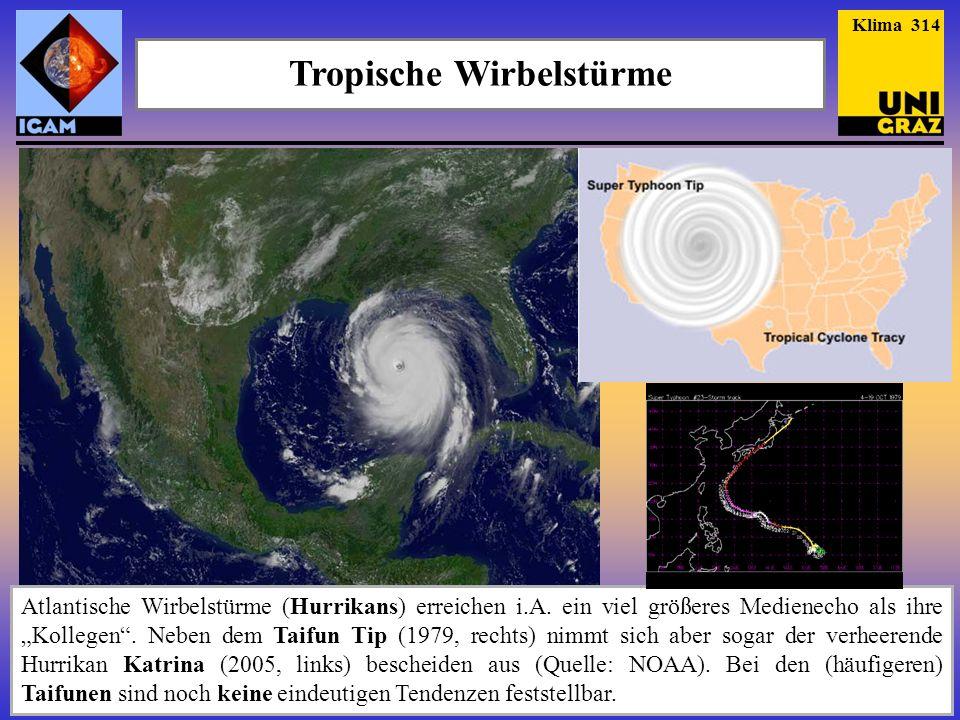 Tropische Wirbelstürme Atlantische Wirbelstürme (Hurrikans) erreichen i.A. ein viel größeres Medienecho als ihre Kollegen. Neben dem Taifun Tip (1979,