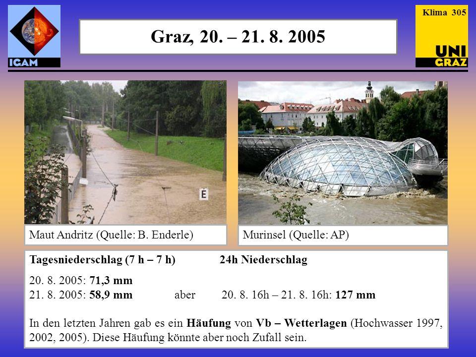 Graz, 20. – 21. 8. 2005 Tagesniederschlag (7 h – 7 h) 24h Niederschlag 20. 8. 2005: 71,3 mm 21. 8. 2005: 58,9 mm aber 20. 8. 16h – 21. 8. 16h: 127 mm