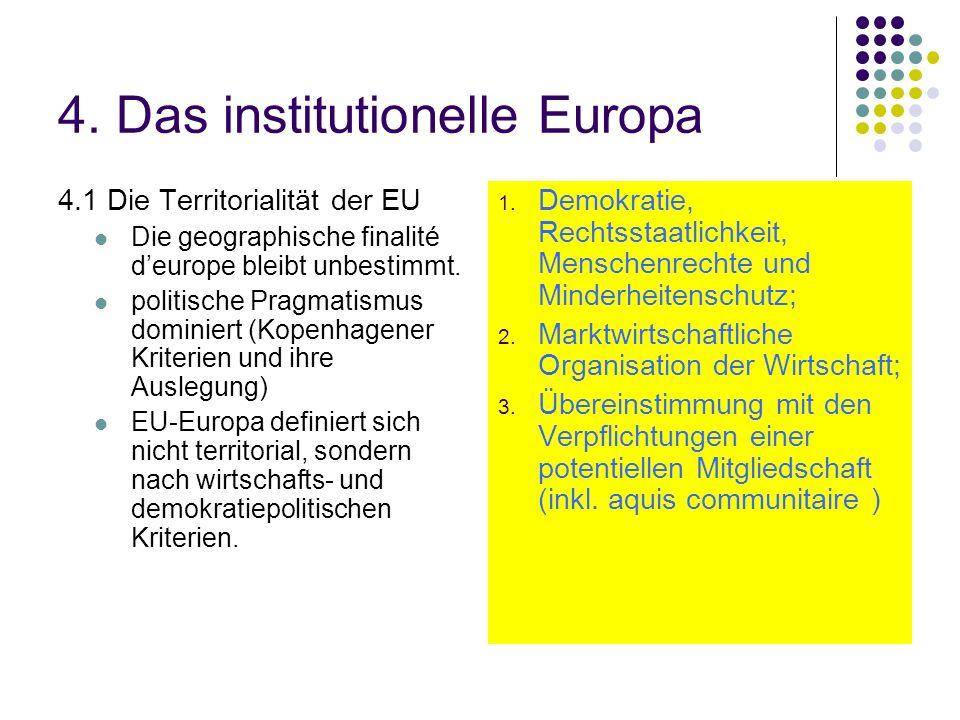 4. Das institutionelle Europa 4.1 Die Territorialität der EU Die geographische finalité deurope bleibt unbestimmt. politische Pragmatismus dominiert (