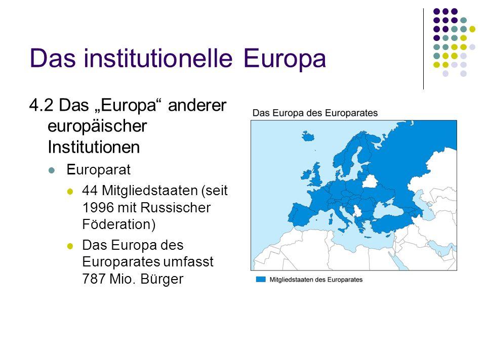 Das institutionelle Europa 4.2 Das Europa anderer europäischer Institutionen Europarat 44 Mitgliedstaaten (seit 1996 mit Russischer Föderation) Das Eu