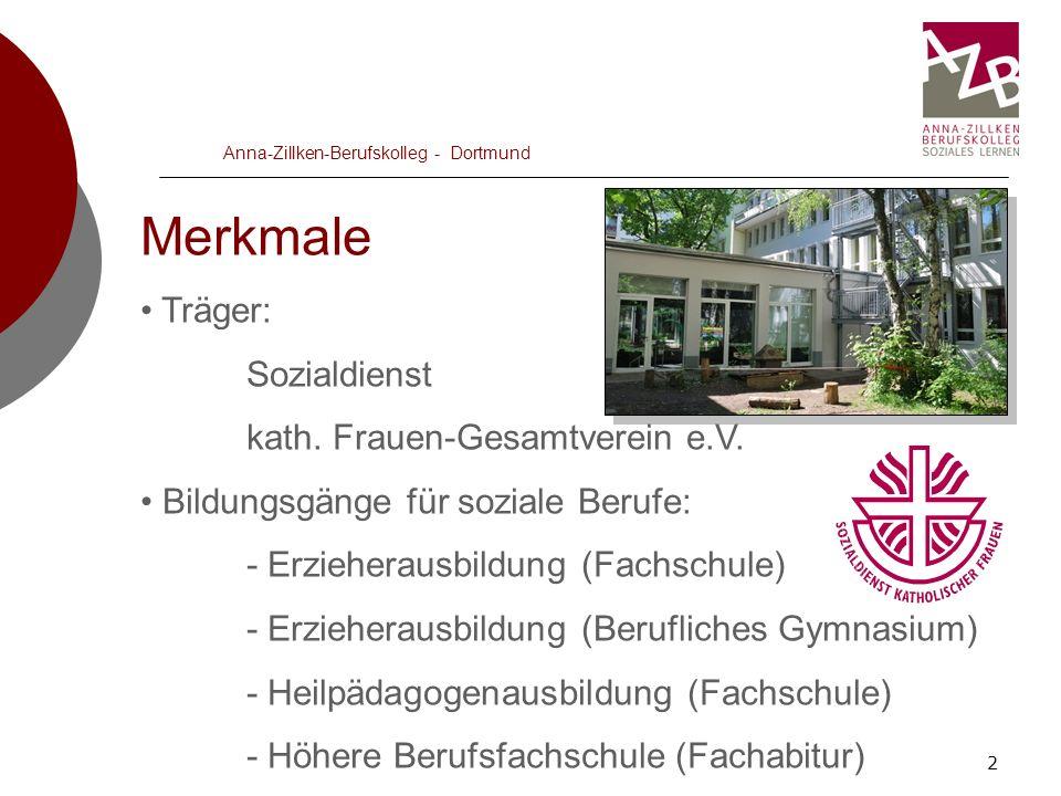 2 Anna-Zillken-Berufskolleg - Dortmund Merkmale Träger: Sozialdienst kath. Frauen-Gesamtverein e.V. Bildungsgänge für soziale Berufe: - Erzieherausbil