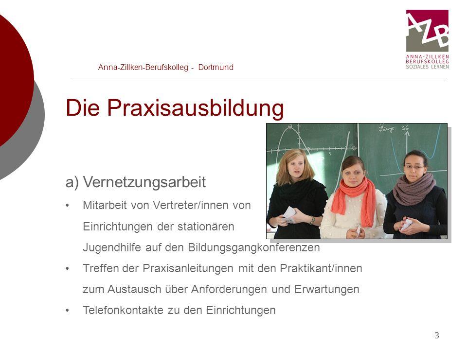 3 Anna-Zillken-Berufskolleg - Dortmund Die Praxisausbildung a)Vernetzungsarbeit Mitarbeit von Vertreter/innen von Einrichtungen der stationären Jugend