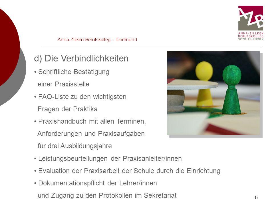 6 Anna-Zillken-Berufskolleg - Dortmund d) Die Verbindlichkeiten Schriftliche Bestätigung einer Praxisstelle FAQ-Liste zu den wichtigsten Fragen der Pr