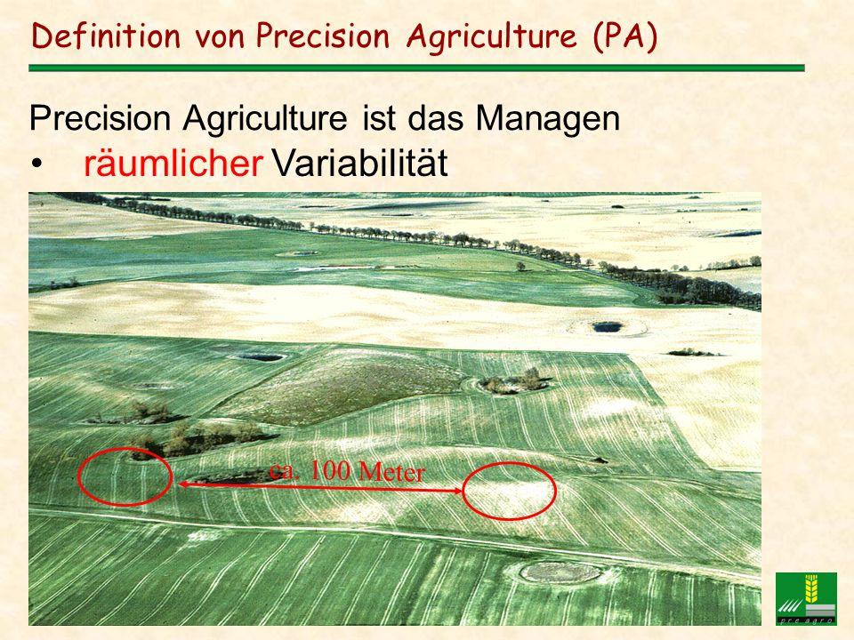 Andreas Jarfe DMK, Potsdam, 23.11.2000 Definition von Precision Agriculture (PA) räumlicher Variabilität Precision Agriculture ist das Managen ca. 100