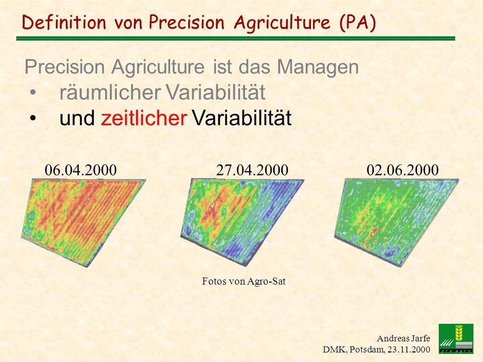 Andreas Jarfe DMK, Potsdam, 23.11.2000 Globales Positionierungs- System (GPS) + X,Y,Z GPS Genauigkeit: +/- 1 Meter Bestimmung der eigenen Position mittels Satelliten DGPS - X,Y,Z X,Y,Z