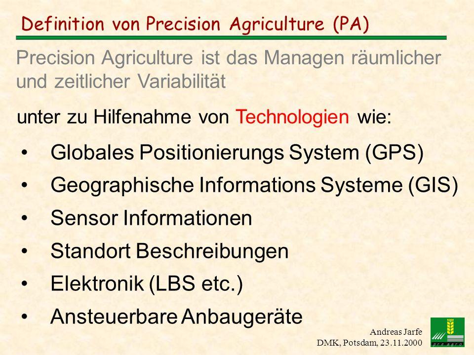 Andreas Jarfe DMK, Potsdam, 23.11.2000 Definition von Precision Agriculture (PA) unter zu Hilfenahme von Technologien wie: Globales Positionierungs Sy