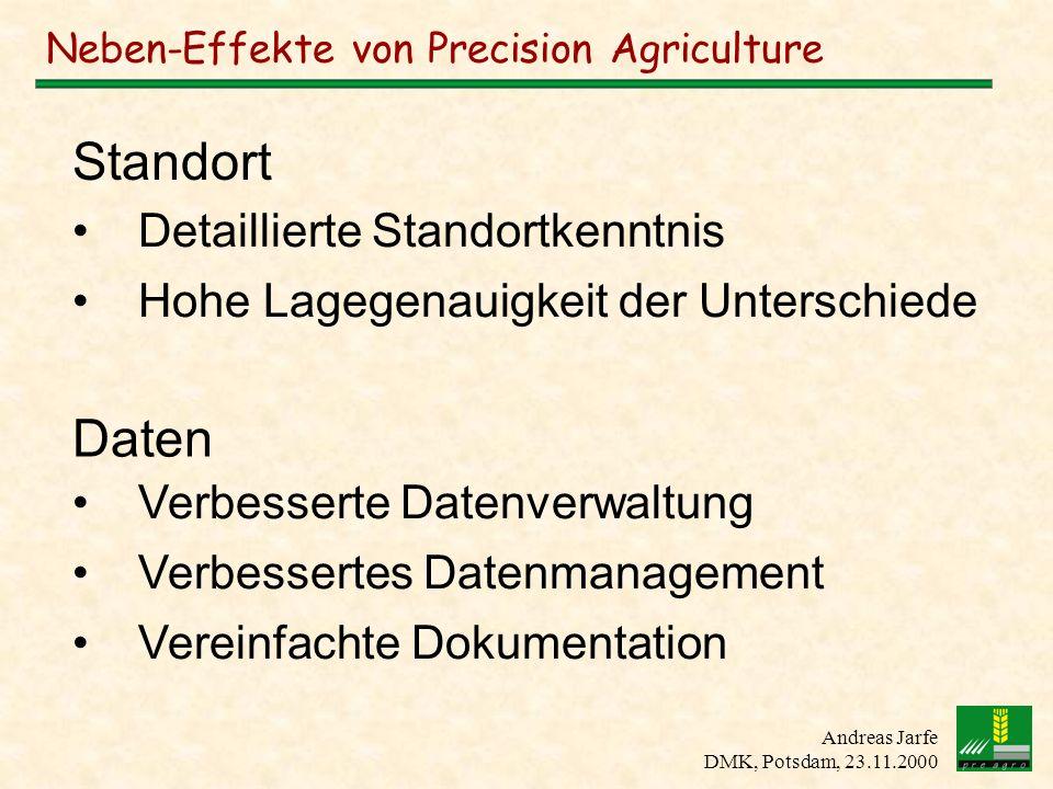 Andreas Jarfe DMK, Potsdam, 23.11.2000 Neben-Effekte von Precision Agriculture Einfachere Aufgabenvergabe Unterstützung bei der Maschinenführung Höhere Genauigkeit Höhere Schlagkraft Vereinfachte Betriebsorganisation Applikation
