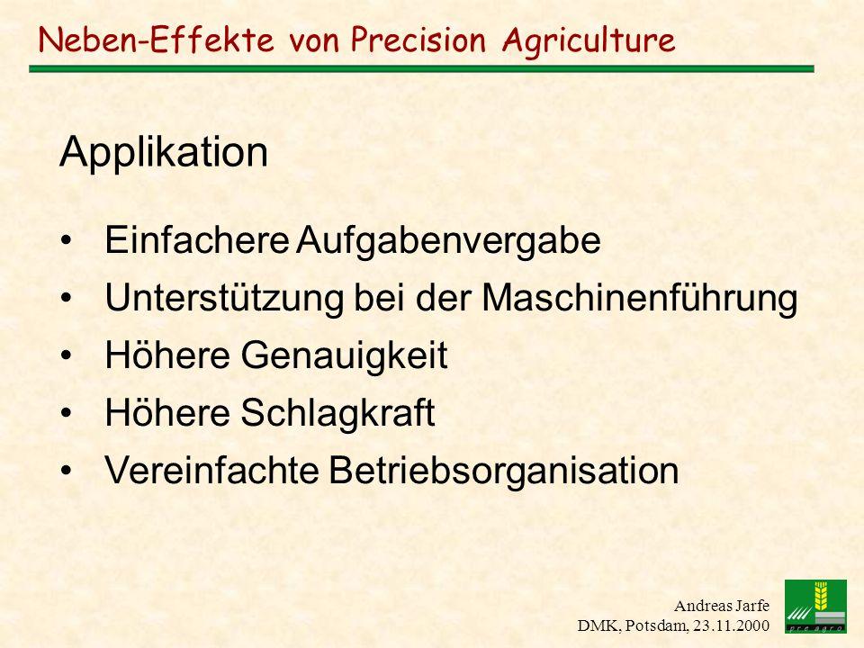 Andreas Jarfe DMK, Potsdam, 23.11.2000 Neben-Effekte von Precision Agriculture Einfachere Aufgabenvergabe Unterstützung bei der Maschinenführung Höher