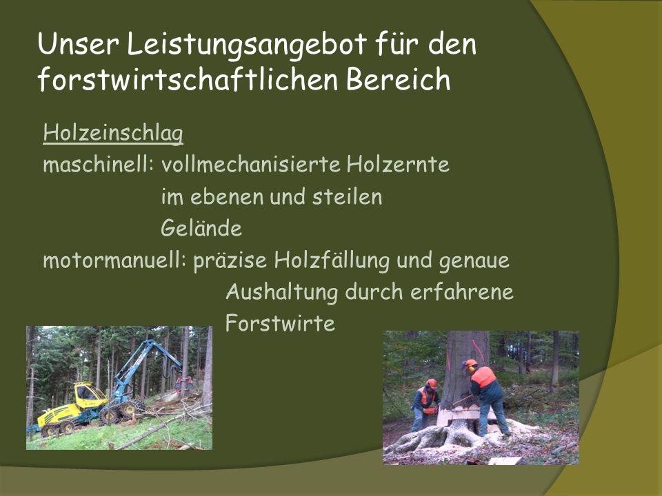 Unser Leistungsangebot für den forstwirtschaftlichen Bereich Holzeinschlag maschinell: vollmechanisierte Holzernte im ebenen und steilen Gelände motor