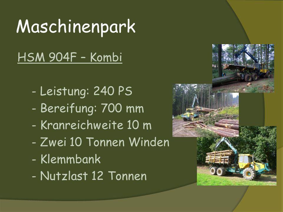 Mit dieser Kombimaschine werden gleichzeitig verschiedene Holzsortimente (Lang- und Kurzholz) aufgenommen und gerückt.
