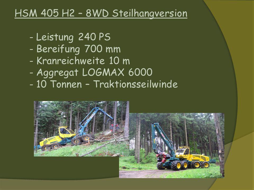 HSM 405 H2 – 8WD Steilhangversion - Leistung 240 PS - Bereifung 700 mm - Kranreichweite 10 m - Aggregat LOGMAX 6000 - 10 Tonnen – Traktionsseilwinde