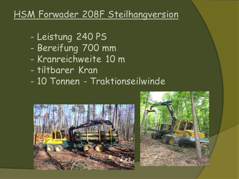 HSM Forwader 208F Steilhangversion - Leistung 240 PS - Bereifung 700 mm - Kranreichweite 10 m - tiltbarer Kran - 10 Tonnen - Traktionseilwinde