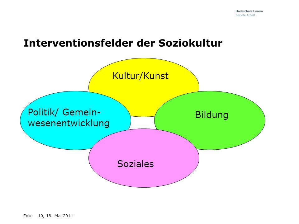 Folie10, 18. Mai 2014 Interventionsfelder der Soziokultur Kultur/Kunst Politik/ Gemein- wesenentwicklung Bildung Soziales