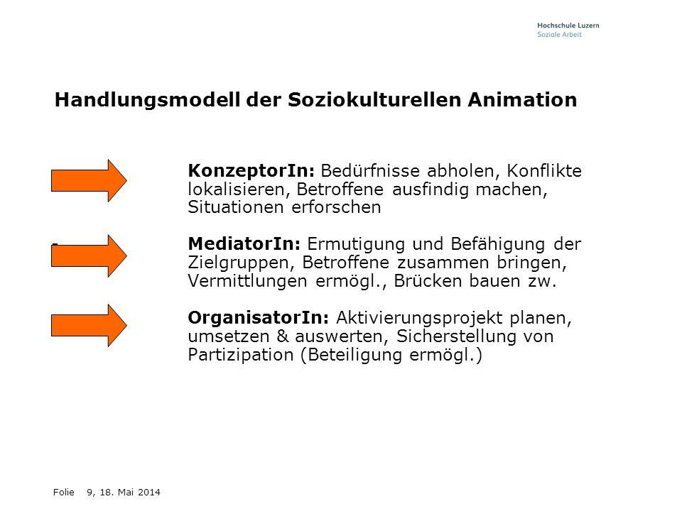 Folie9, 18. Mai 2014 Handlungsmodell der Soziokulturellen Animation -KonzeptorIn: Bedürfnisse abholen, Konflikte lokalisieren, Betroffene ausfindig ma