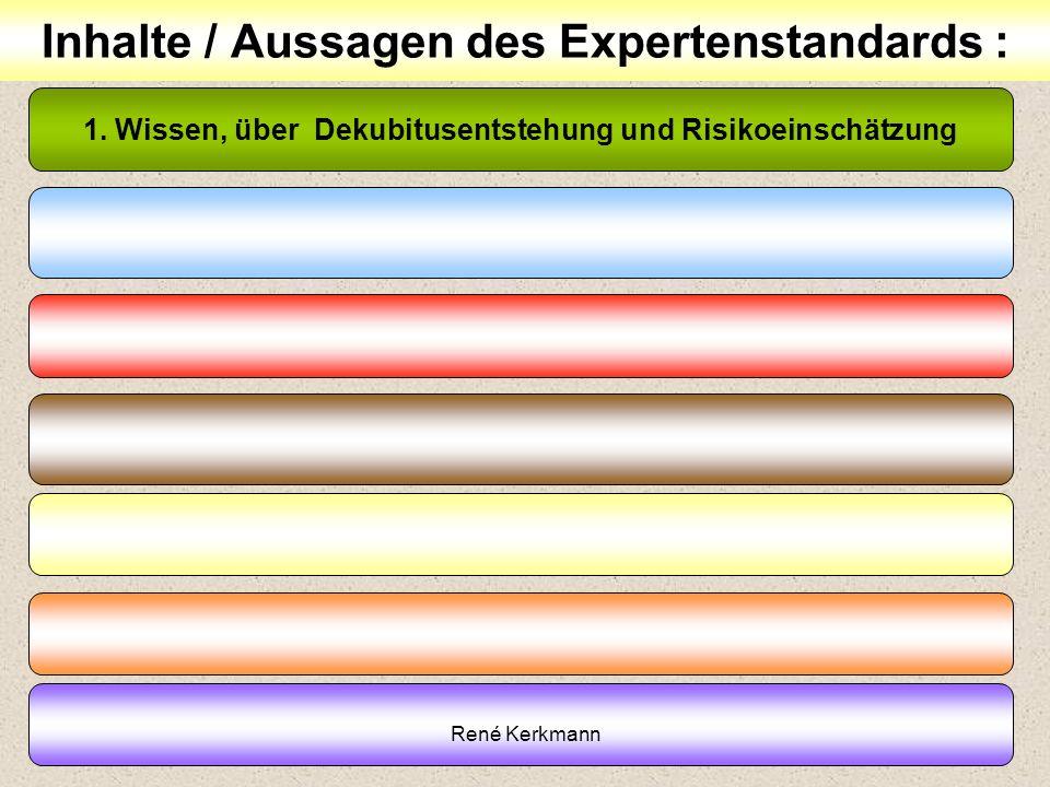 15 Inhalte / Aussagen des Expertenstandards : 1. Wissen, über Dekubitusentstehung und Risikoeinschätzung René Kerkmann